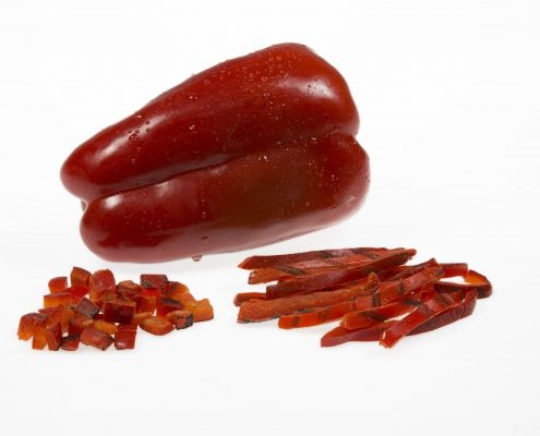 IQF ROASTED DICED STRIPS RED PEPPER