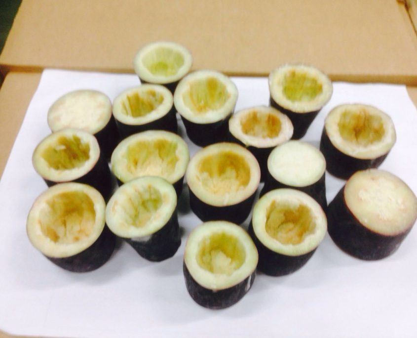eggplant tubes for filling iqf